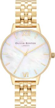 Midi Mother Of Pearl And Gold Bracelet Watch Ob16mop01