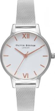 Midi White Dial Rose Gold And Silver Mesh Bracelet Watch Ob16mdw22