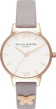 Rose Gold Plated Butterfly Embellished Grey Lilac Leather Strap Watch Ob16mdw39