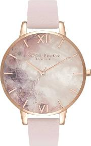 Semi Precious Big Dial Rose Gold And Blossom Leather Strap Watch Ob16sp03