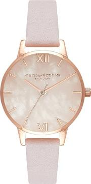 Semi Precious Rose Gold And Blossom Leather Strap Watch Ob16sp02