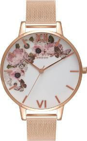 Signature Florals White Dial Rose Gold Plated Mesh Strap Watch Ob16wg18