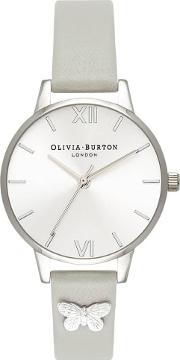 Silver Butterfly Embellished Grey Leather Strap Watch Ob16md93