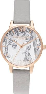 Snow Globe Rose Gold Plated Grey Leather Strap Watch Ob16sg06