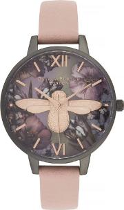 Twilight 3d Bee Mother Of Pearl Midi Dial Dusty Pink Leather Strap Watch Ob16tw02