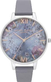 Under The Sea Eco Friendly Silver And Deep Sea Blue Leather Look Strap Watch Ob16us09