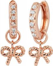 Vintage Bow Rose Gold Plated White Topaz Huggie Hoop Earrings Obj16vbe17