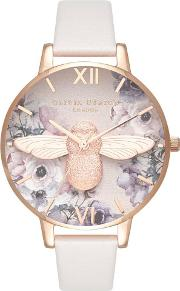 Watercolour 3d Bee Rose Gold And Blush Leather Strap Watch Ob16pp41