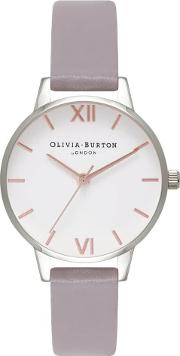 White Dial Rose Gold And Silver Grey Lilac Strap Watch Ob16mdw26
