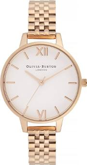 White Dial Rose Gold Plated Bracelet Watch Ob16dew01