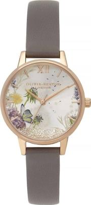 Wishing Watch Rose Gold Plated Grey Leather Strap Watch Ob16sg02