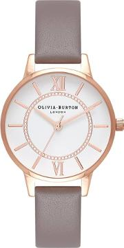 Wonderland Rose Gold And London Grey Leather Strap Watch Ob16wd63