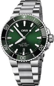Mens Aquis Date Green Automatic Bracelet Watch 733 7730 4157 07 Mb