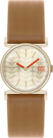 Cecelia Gold Plated Brown Strap Watch Ok2050