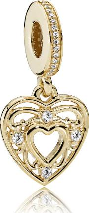 14ct Gold Romantic Heart Dropper Charm 751001cz