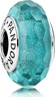 Oceanic Teal Glitter Sterling Silver Glass Charm 791655