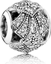 Oriental Bloom Fan Sterling Silver Charm 791906cz