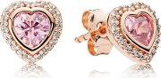Pink Sparkling Love Stud Earrings 280568pcz