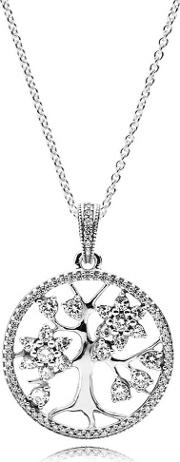 Silver Family Tree Necklace 390384cz 80