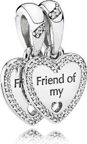 Silver Hearts Of Friendship Pendant Charm 792147cz