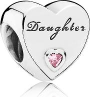 Silver Pink Cubic Zirconia Daughters Love Charm 791726pcz