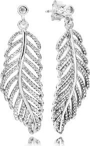 Silver Shimmering Feather Studs Earrings 290584cz