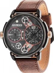 Mens Black Brown Leather Strap Watch 14693jsb12a