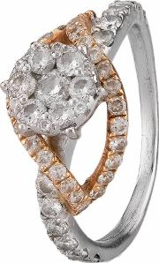 Pre Owned 0.60ct Diamond Cluster Twist Ring 4111683