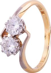 Pre Owned 0.70ct Diamond Two Stone Twist Ring 4112583