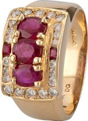 Pre Owned 14ct Rose Gold Ruby And Diamond Ring 4312245