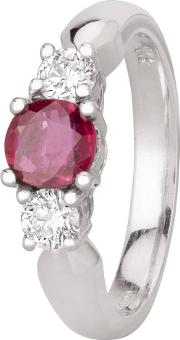 Pre Owned 14ct White Gold 0.70ct Ruby And 0.35ct Diamond Three Stone Ring Gmc 11523