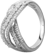Pre Owned 14ct White Gold 0.75ct Diamond Crossover Ring Mg 5115