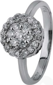 Pre Owned 14ct White Gold Diamond Cluster Ring 4328056