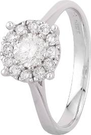 Pre Owned 14ct White Gold Diamond Cluster Ring Gmc 10884