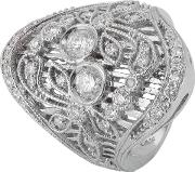 Pre Owned 14ct White Gold Diamond Floral Filigree Ring 4329689