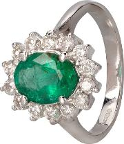 Pre Owned 14ct White Gold Emerald And Diamond Ring 4312225