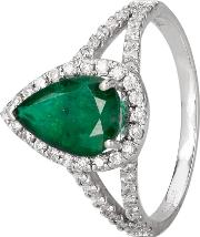 Pre Owned 14ct White Gold Emerald And Diamond Ring 4312237
