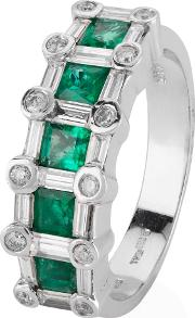 Pre Owned 14ct White Gold Emerald And Diamond Ring 4329576