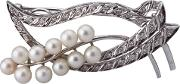 Pre Owned 14ct White Gold Pearl And Diamond Leaf Brooch 4313022