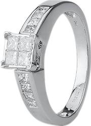 Pre Owned 14ct White Gold Princess Diamond Ring 4312207