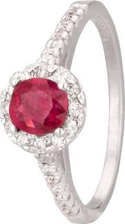 Pre Owned 14ct White Gold Ruby And Diamond Ring 4312234