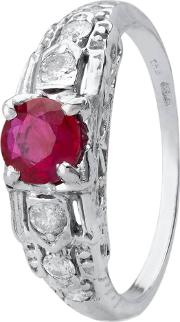 Pre Owned 14ct White Gold Ruby And Diamond Ring 4328292