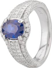 Pre Owned 14ct White Gold Sapphire And Diamond Ring 4328295