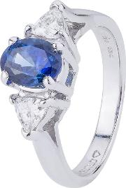Pre Owned 14ct White Gold Sapphire And Diamond Ring 4329229