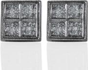 Pre Owned 14ct White Gold Square Princess Cut Diamond Set Cluster Earrings 4317057