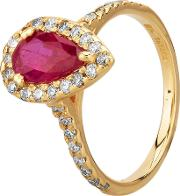 Pre Owned 14ct Yellow Gold 1.10ct Pear Shaped Ruby And 0.40ct Diamond Halo Ring Gmc 11536