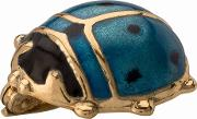 Pre Owned 14ct Yellow Gold Blue Enamel Ladybird Brooch 4313019