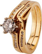 Pre Owned 14ct Yellow Gold Diamond Bridal Set Ring 4312132