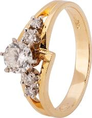 Pre Owned 14ct Yellow Gold Diamond Crossover Ring 4312134