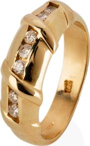 Pre Owned 14ct Yellow Gold Diamond Set Bamboo Effect Half Eternity Ring 4332905